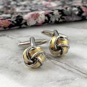 ⚜️New⚜️ Men's Silver w/ Gold Knotted Cuff Links